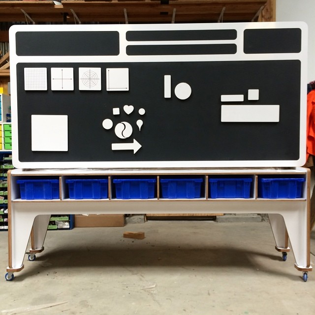 Mobile magnetic chalkboard with magnetic white board pieces. #herodesign